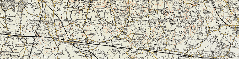 Old map of Four Elms in 1898-1902
