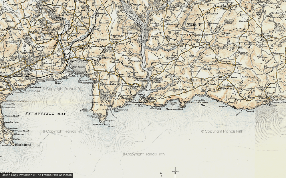 Old Map of Fowey, 1900 in 1900