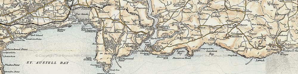 Old map of Fowey in 1900