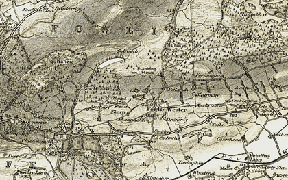 Old map of Fowlis Wester in 1906-1908