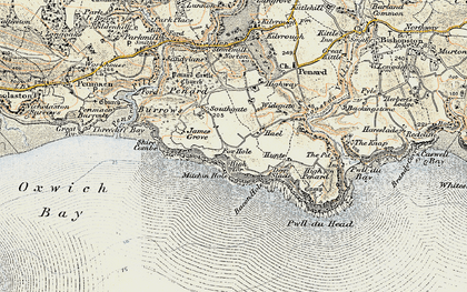 Old map of Bacon Hole in 1900-1901