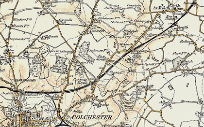 Old map of Ardleigh Reservoir in 1898-1899
