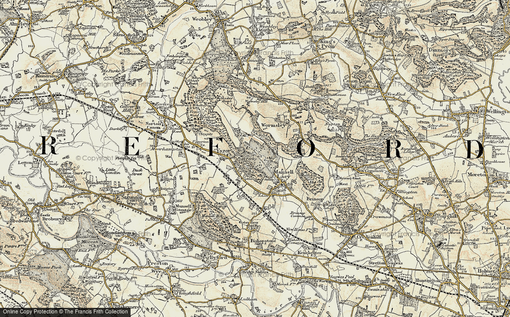 Old Map of Historic Map covering Bache Wood in 1900-1901