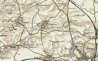 Old map of Foxton in 1901-1902