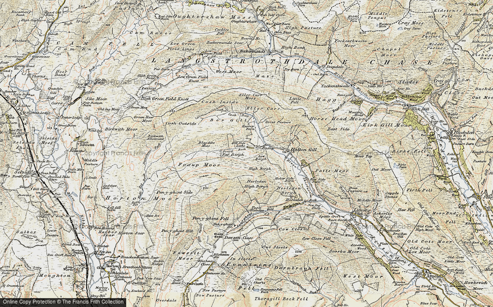 Old Map of Historic Map covering Yorkshire Dales National Park in 1903-1904