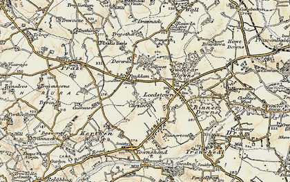 Old map of Fraddam in 1900