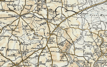 Old map of Fraddon in 1900
