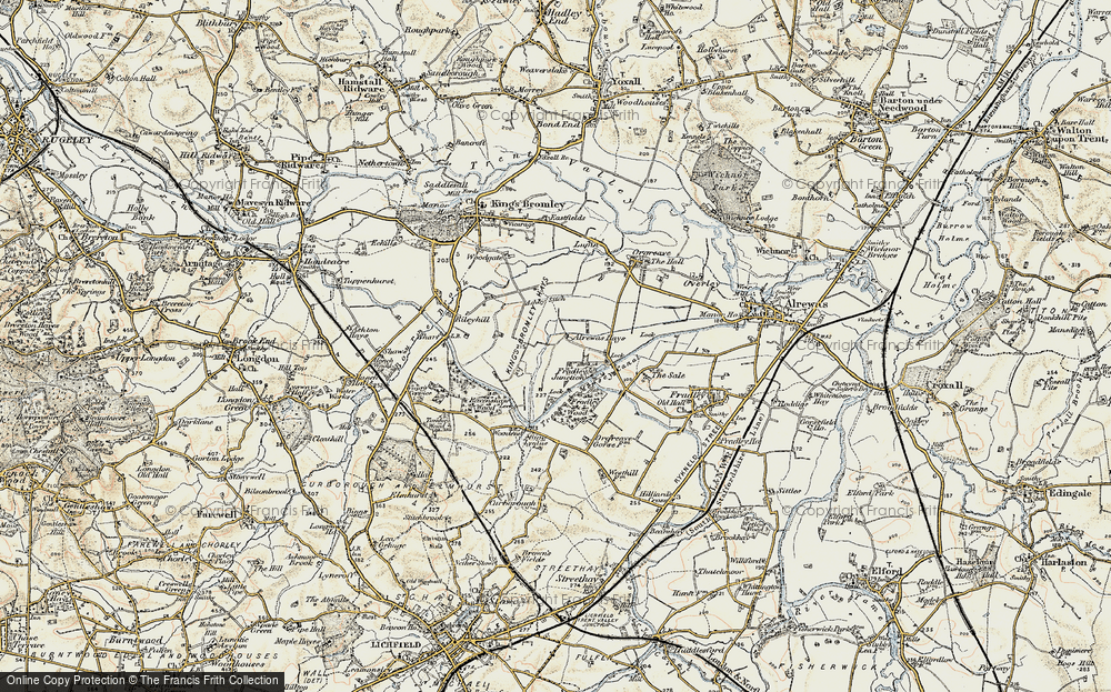 Old Map of Historic Map covering Alrewas Hayes in 1902