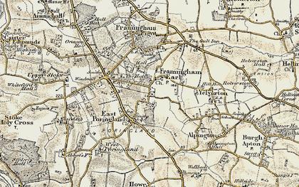 Old map of Framingham Earl in 1901-1902