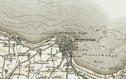Old map of Fraserburgh in 1909-1910