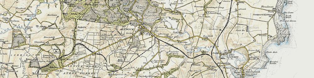 Old map of Allerburn Ho in 1901-1903