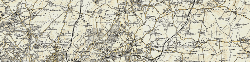 Old map of Frenchay in 1899
