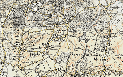 Old map of Frensham in 1897-1909
