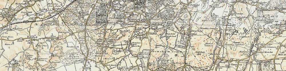 Old map of Frensham in 1897-1909