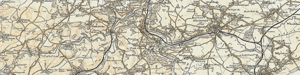 Old map of Freshford in 1898-1899
