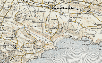 Old map of Freshwater East in 1901-1912