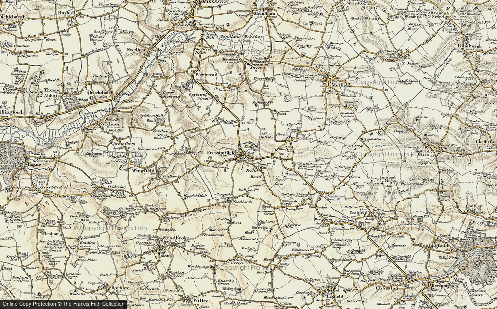 Old Map of Historic Map covering Whittingham Hall in 1901-1902