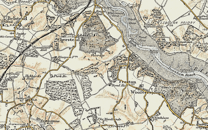 Old map of Freston in 1898-1901