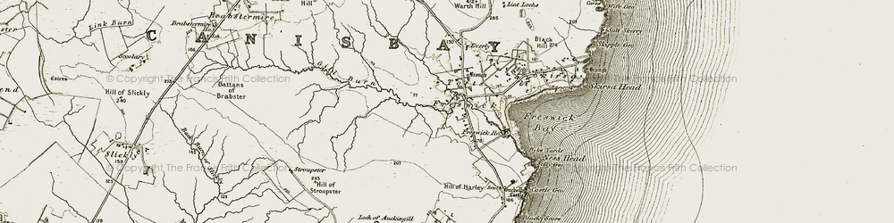 Old map of Freswick in 1911-1912