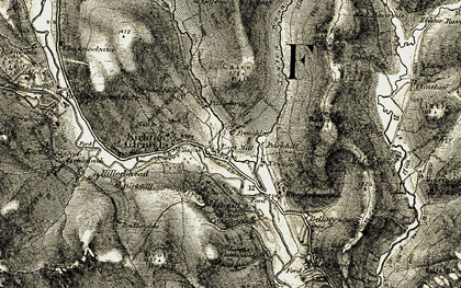 Old map of Wester Peathaugh in 1907-1908