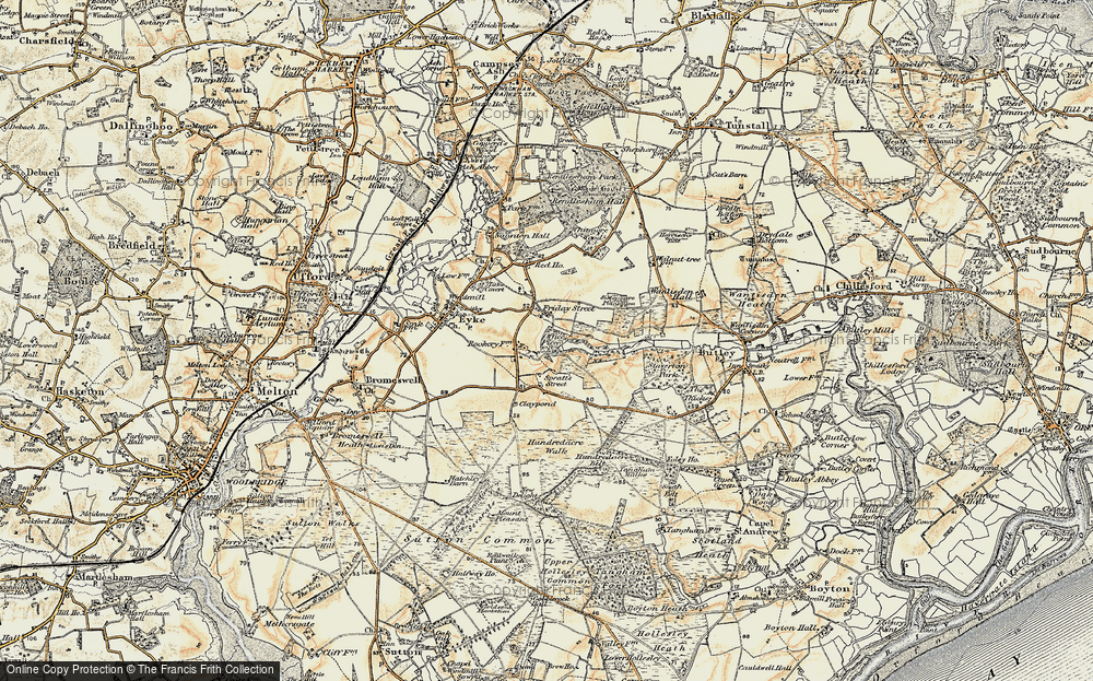 Old Map of Historic Map covering Woodbridge Airfield in 1898-1901