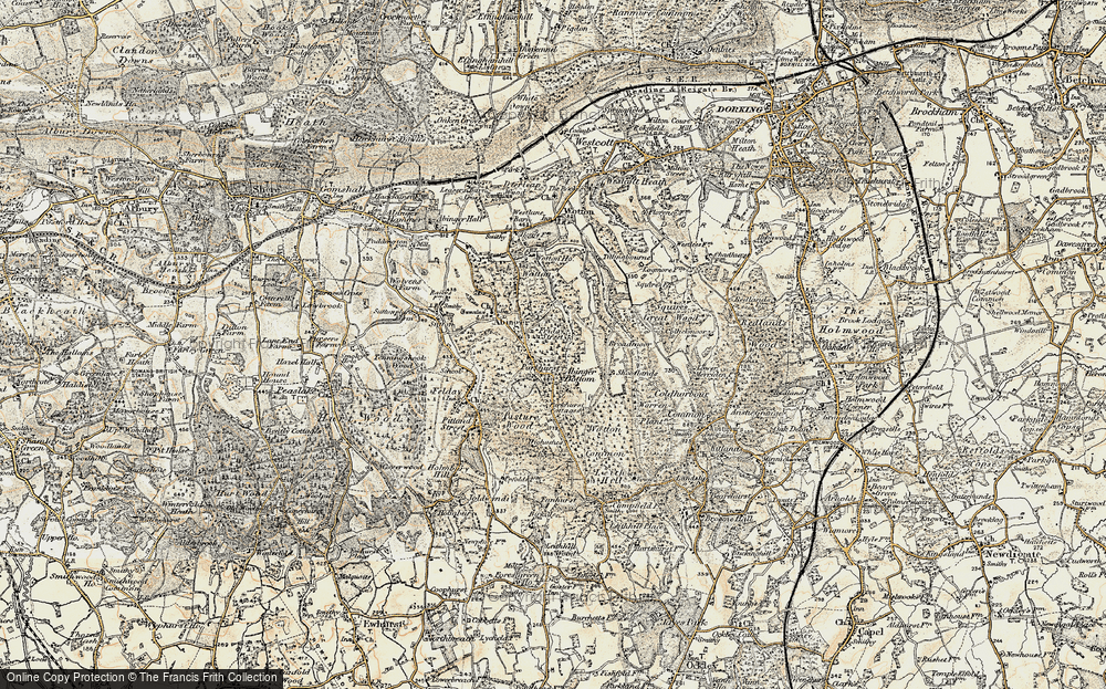 Old Map of Historic Map covering Abinger Bottom in 1898-1909