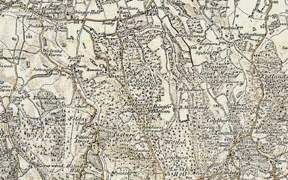 Old map of Abinger Bottom in 1898-1909