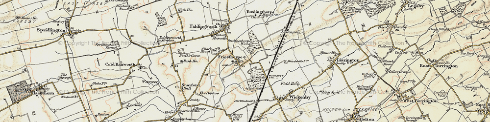 Old map of Wickenby Wood in 1902-1903