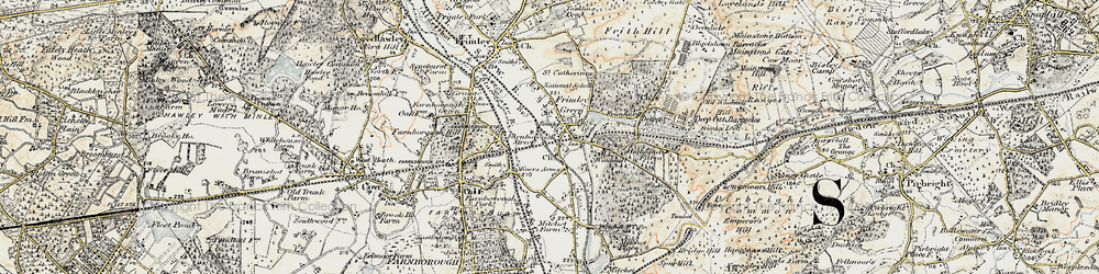 Old map of Frimley Green in 1897-1909