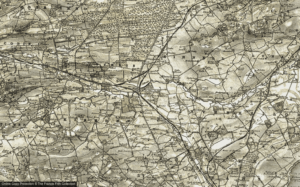 Old Map of Historic Map covering Balneaves Cottage in 1907-1908