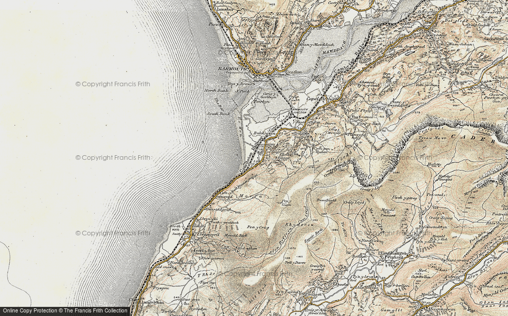 Old Map of Historic Map covering Afon Dyffryn in 1902-1903