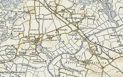 Old map of Fritton in 1901-1902