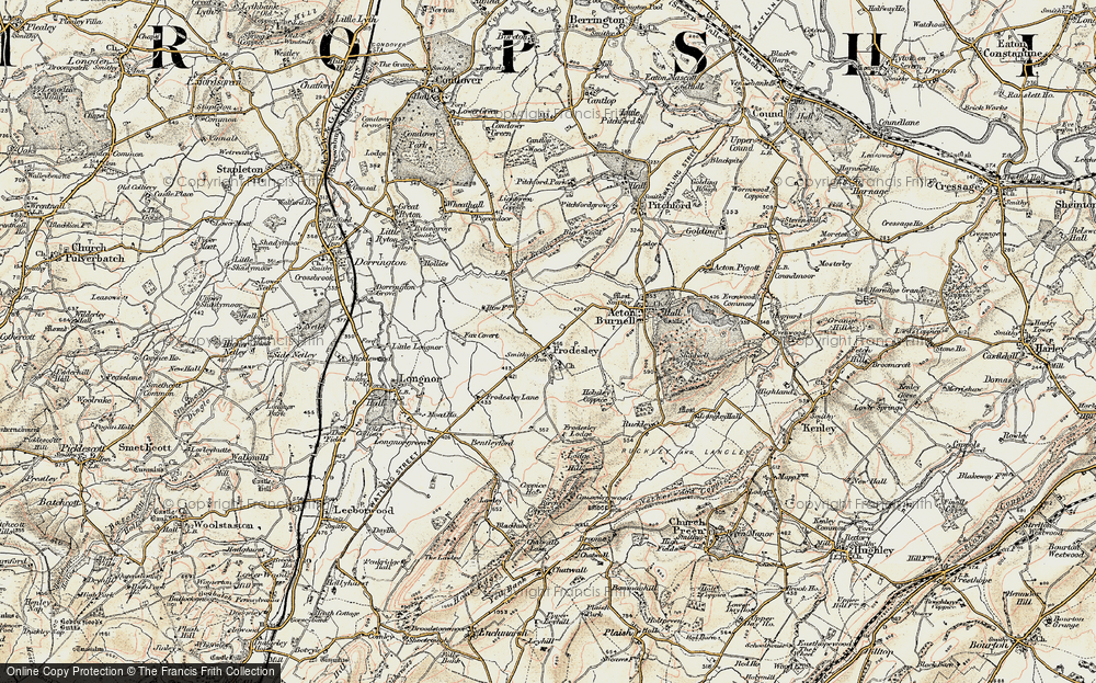 Old Map of Frodesley, 1902 in 1902