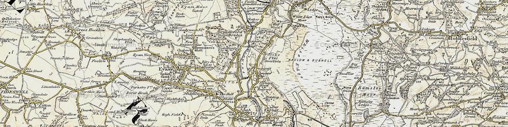 Old map of Froggatt in 1902-1903