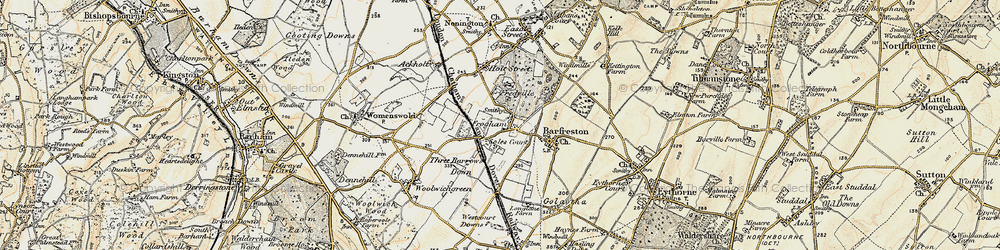 Old map of Frogham in 1898-1899