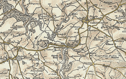 Old map of Frogwell in 1899-1900