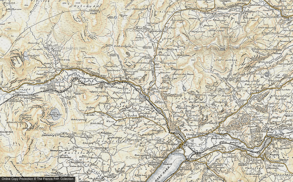 Old Map of Historic Map covering Afon Mynach in 1902-1903