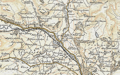Old map of Afon Hesgyn in 1902-1903