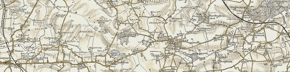 Old map of Woodrising Hall in 1901-1902