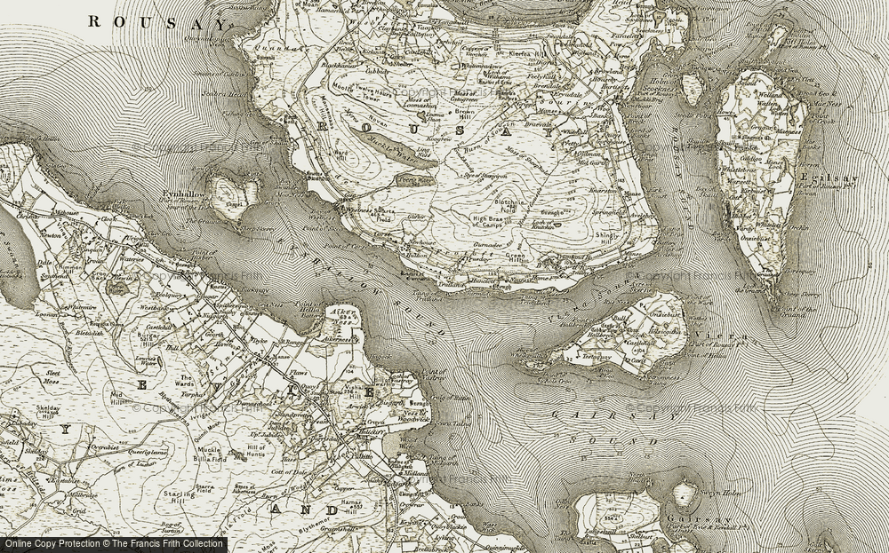 Old Map of Historic Map covering Aikerness in 1912