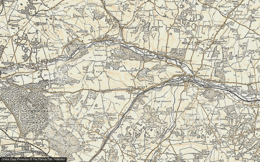 Old Map of Historic Map covering Lawn Coppice in 1897-1899