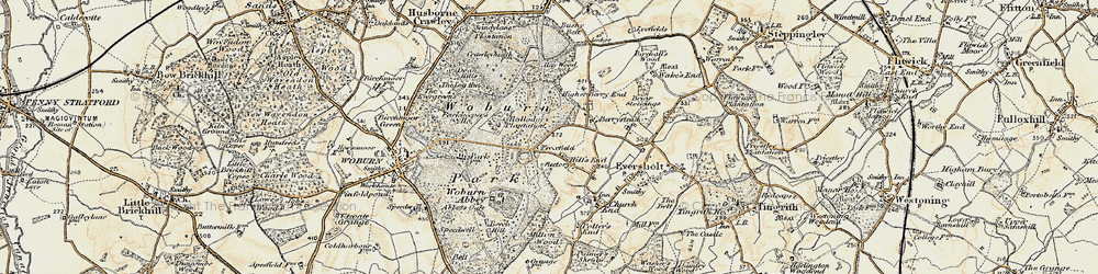 Old map of Woburn Abbey in 1898-1899