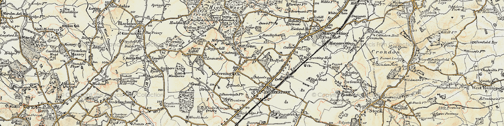 Old map of Fryerning in 1898