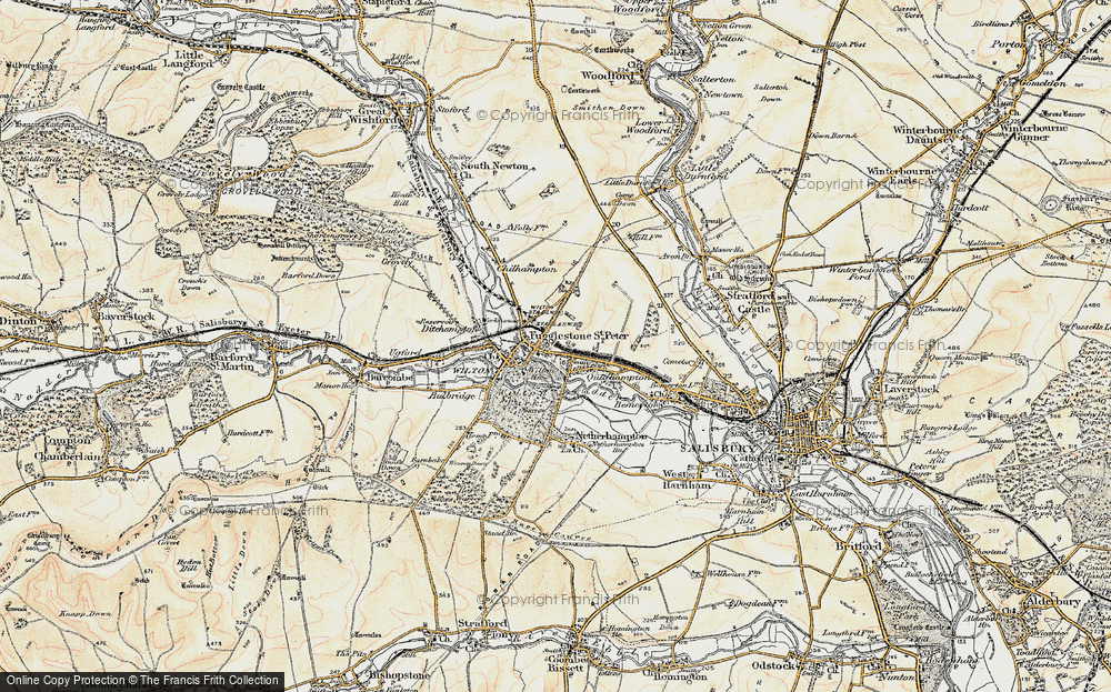 Old Map of Fugglestone St Peter, 1897-1898 in 1897-1898