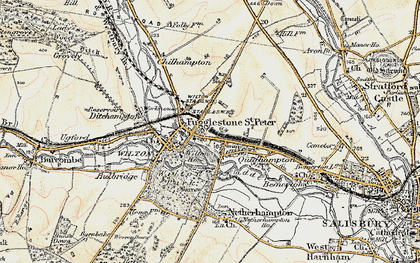 Old map of Fugglestone St Peter in 1897-1898