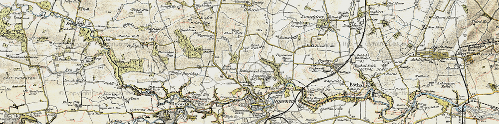 Old map of West Shield Hill in 1901-1903