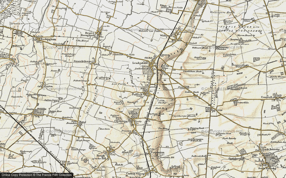 Old Map of Historic Map covering Leadenham Ho in 1902-1903