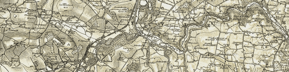 Old map of Fyvie in 1909-1910
