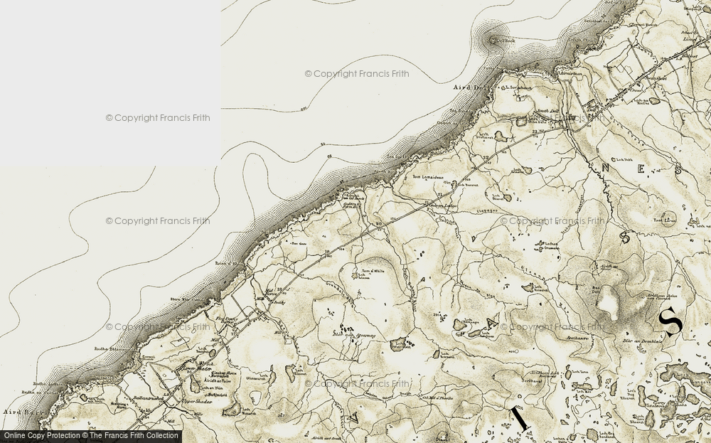 Old Map of Historic Map covering Abhainn Ghabhsainn bho Dheas in 1911