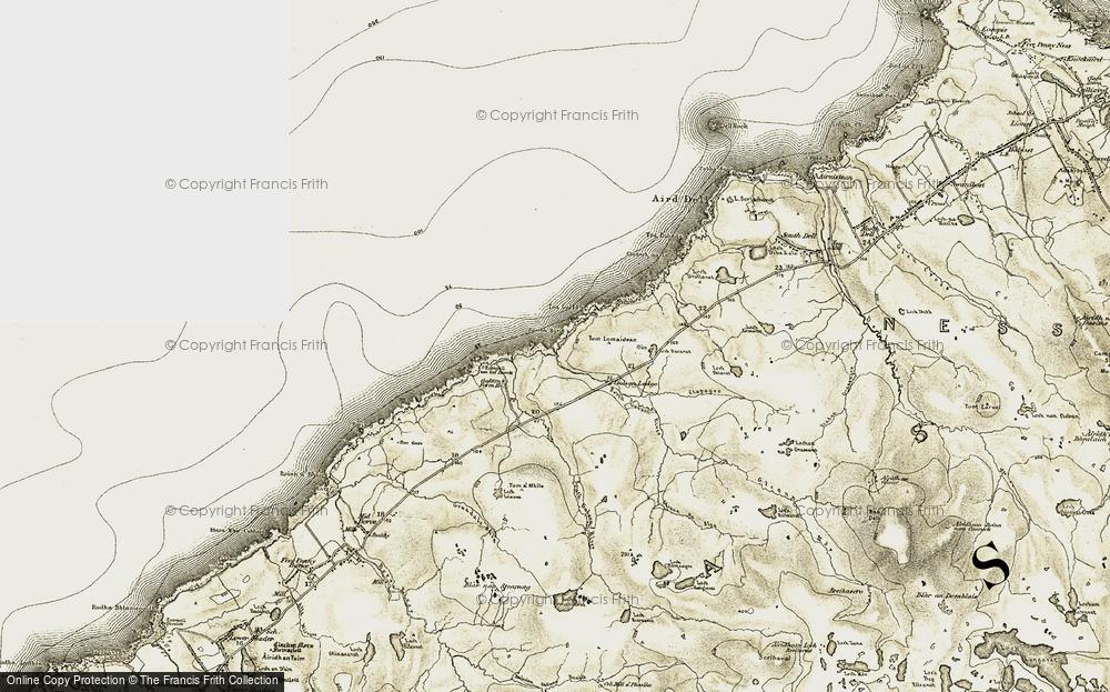 Old Map of Historic Map covering Abhainn Gabhsann bho Thuath in 1911